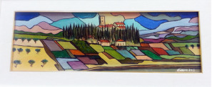 Olio su tela con tecnica a mosaico