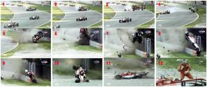 Le spattacolari sequenze fotografiche del volo di Lance Stroll a Monza