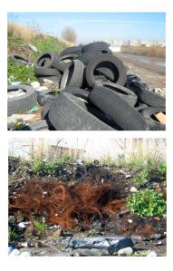 Una discarica abusiva dove vengono stoccati vecchie carcasse di penumatici che poi vengono bruciati per ricavarne le strutture metalliche al loro interno