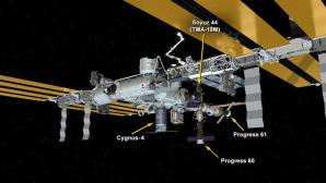 Una immagine della Iss dove sono riportate le indicazioni di 4 veicoli spaziali ormeggiati alla stazione orbitale. Il laboratorio scientifico, avamposto umano nello Spazio, compie quest'anno 17 anni dal suo primo assemblaggio avvenuto 20 novembre del 1998