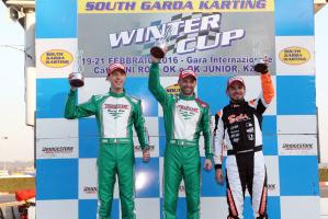 Il podio della KZ2 della Winter Cup di Lonato con il vincitore Ardigò, Luca Corberi e Anthony Abbasse