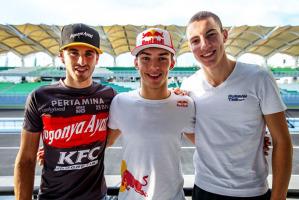 Da sx Antonio Giovinazzi, il poleman Pierre Gasly e l'altro italiano (terzo tempo in qualifica) Raffaele Marciello