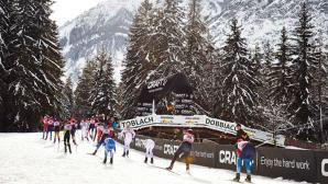 Una fase della Ski-Marathon di Dobbiaco