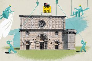 La foto della facciata della Basilica di Collemaggio in una ricostruzione  grafica che ricorda lo stile immaginario di Michel Folon, l'artista belga che negli anni 90 collaborava con la campagna pubblicitaria dell'Eni per lo sviluppo del metano