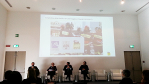 Da sinistra, il moderatore Francesco Lener, a seguire Emma Ursich, Mattia Voltaggio e Luca Josi