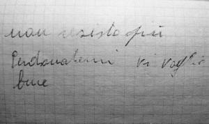 Ecco il foglietto con le ultime parole scritte dal maresciallo dell'Aeronautica in pensione, Alberto Dettori, testimone  della tragedia di Ustica