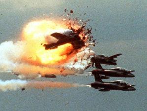La foto dell'impatto fra le Freccie Tricolori a Ramstein il 28 agosto 1988 durante l'Airshow Flugtag '88