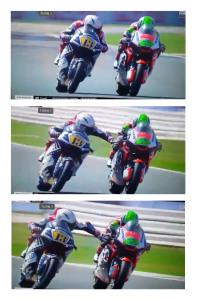 Una sequenza delle immagini riprese dalla televisione, quando Fenati pinza il freno del rivale Manzi in piena velocità, ad oltre 200 all'ora