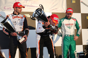 Il Podio della KZ2 di LOnato, categoria regina della Winter Cup con il vincitore Anthony Abbasse e i suoi