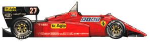 PROFILO_F84     La Ferrari 126 C4 del 1984 di Michele Alboreto. Si nota la posizione del pilota molto avanzata e all'epoca i motori fecere un gran balzo avanti per quanto riguardava la potenza. Per ridurre il peso della vettura si cominciò a fare un largo uso dei freni a disco in fibra di carbonio. Con questa vettura l'indimenticato pilota milanese vinse a Zolder, unica vittoria della stagione, contro lo strapotere della McLaren.