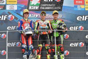 Il podio della Premoto3 con Lunetta  ancora sul gradino più alto del podio