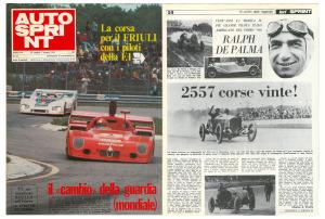 Il numero 22 di Autosprint del 25 maggio 1976, riporta un servizio di Ralph De Palma, a firma di Charles G.Proche a vent'anni dalla sua scomparsa
