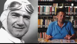 Un primo piano di Ralph De Palma in tenuta da pilota e il regista del film Antonio Silvestre